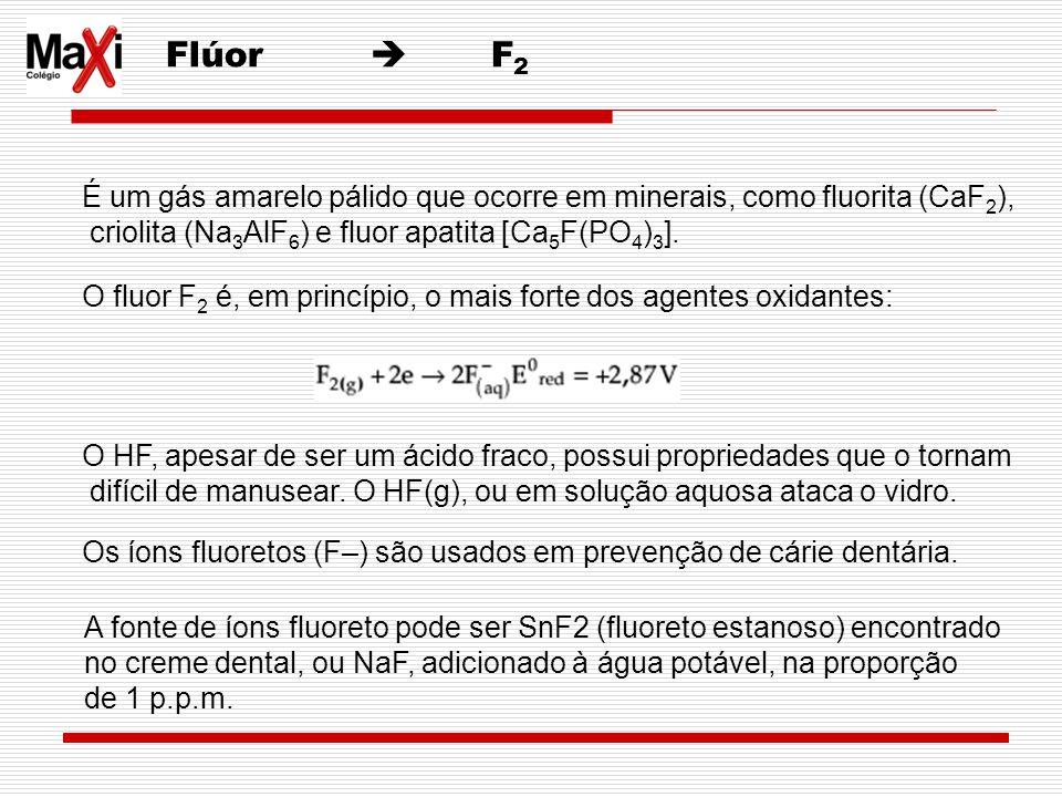 Flúor  F2 É um gás amarelo pálido que ocorre em minerais, como fluorita (CaF2), criolita (Na3AlF6) e fluor apatita [Ca5F(PO4)3].